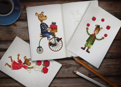 Разработали серию милых персонажей для медового бренда Добрый Пух