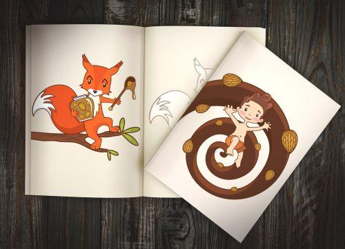 Отрисованные милые персонажи для ореховой пасты